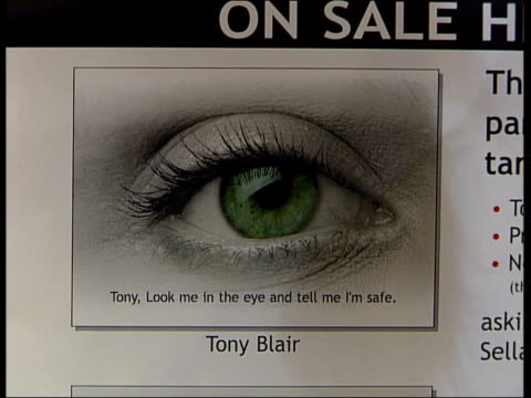 Mass postcard demands Sellafield closure ITN London 10 Downing Street Picture of a human eye on large postcard with the words Tony look me in the eye...