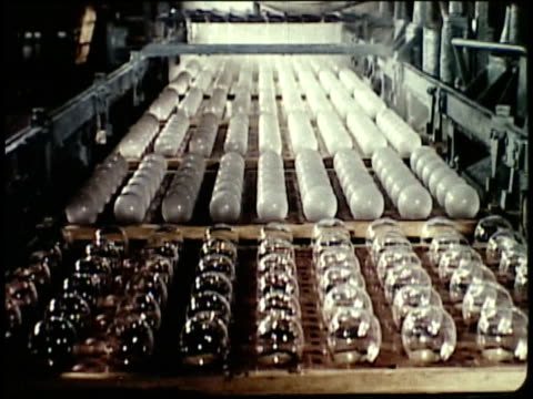 vídeos de stock e filmes b-roll de 1963 montage mass production of light bulbs / japan  - lampada