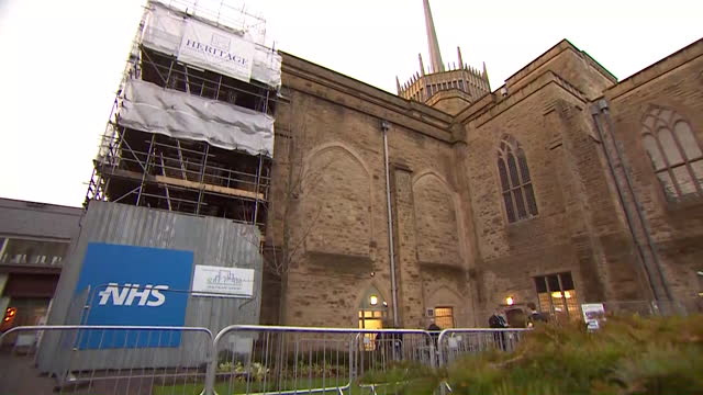 "mass vaccination centre for covid-19 being set up in blackburn cathedral - ""bbc news"" stock videos & royalty-free footage"