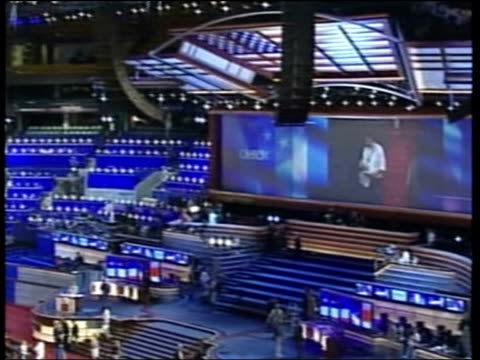 massachusetts boston us flag on ceiling of hall la ceiling tilt down democratic convention 2004 underway camera operators drummers playing democratic... - place sign stock videos & royalty-free footage