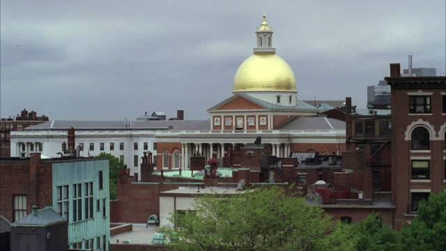 ws  massachusetts building with golden dome / unspecified - massachusetts stock videos & royalty-free footage