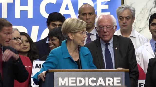 vídeos de stock, filmes e b-roll de massachusetts elizabeth warren tells media and supporters of universal health care coverage that americans across the country made their voices heard... - bernie sanders