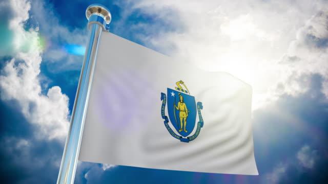 4k - massachusetts flag | loopable stock video - springfield massachusetts stock videos & royalty-free footage