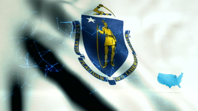 massachusetts flag - country geographic area stock videos & royalty-free footage