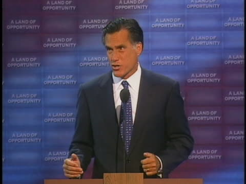 vídeos de stock, filmes e b-roll de massachusetts governor mitt romney speaks about the greatness of america and his support for president george w bush at the 2004 republican national... - (war or terrorism or election or government or illness or news event or speech or politics or politician or conflict or military or extreme weather or business or economy) and not usa