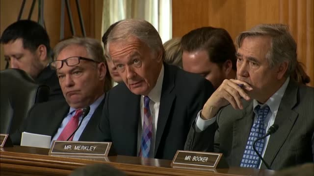 Massachusetts Senator Ed Markey asks Secretary of State Mike Pompeo at a Senate Foreign Relations Committee hearing if North Korea had committed to...