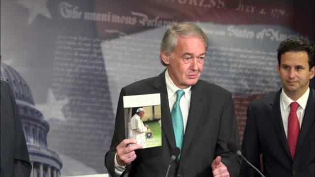 massachusetts senator ed markey joins senate democrats at a press briefing to urge president donald trump not to withdraw from the 2016 cop-21 paris... - paris agreement stock videos & royalty-free footage