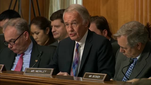 Massachusetts Senator Ed Markey questions Secretary of State Mike Pompeo at a Senate Foreign Relations Committee hearing about North Korean...