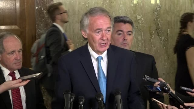 massachusetts senator ed markey tells reporters outside a foreign relations committee hearing that a historic moment was reached for the korean... - peninsula stock videos and b-roll footage