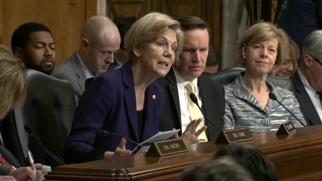 massachusetts senator elizabeth warren challenges help committee chairman lamar alexander over the format of the hearing for betsy devos to be... - nomination stock videos & royalty-free footage