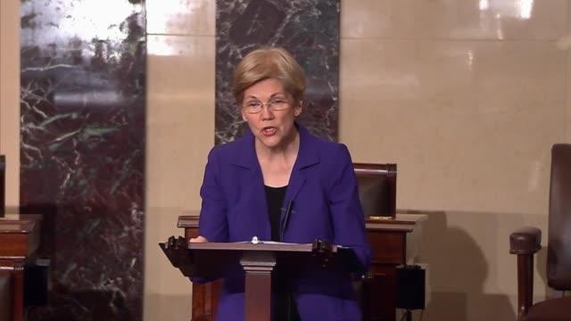 vídeos de stock e filmes b-roll de massachusetts senator elizabeth warren criticizes the formation of a bipartisan health care innovation and research bill arguing that republican... - congresso organizações
