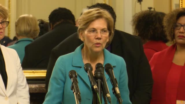 massachusetts senator elizabeth warren says at a press conference opposing judge brett kavanaugh for the supreme court that democrats are on the... - brett kavanaugh stock videos and b-roll footage