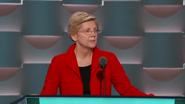 Massachusetts Senator Elizabeth Warren tells convention delegates that stronger rules are needed on Wall Street to break up risky big banks that the...
