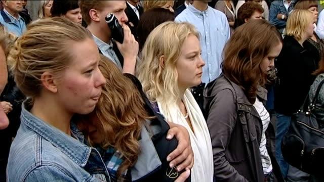 stockvideo's en b-roll-footage met massacre gunman anders breivik appears in court women observing silence - anders behring breivik