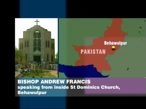 massacre in christian church itn st dominics church as bishop andrew francis phono interview overlaid sot all bodies are lying all over the place the... - phono einzelwort stock-videos und b-roll-filmmaterial