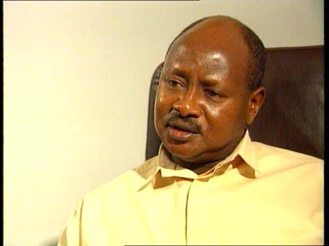 Uganda reaction UGANDA Kampala CMS Yoweri Museveni intvwd SOT The only role Uganda may have played in the Rwandan civil war was one of example/ We...