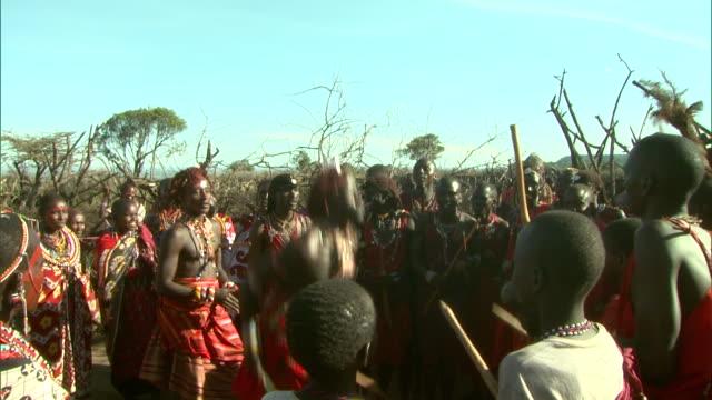 massai men bounce and jump during a tribal dance in africa. - krieger menschliche tätigkeit stock-videos und b-roll-filmmaterial