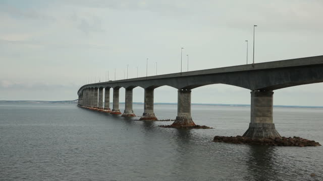 Massive Bridge to Prince Edward Island Under Gloomy Sky
