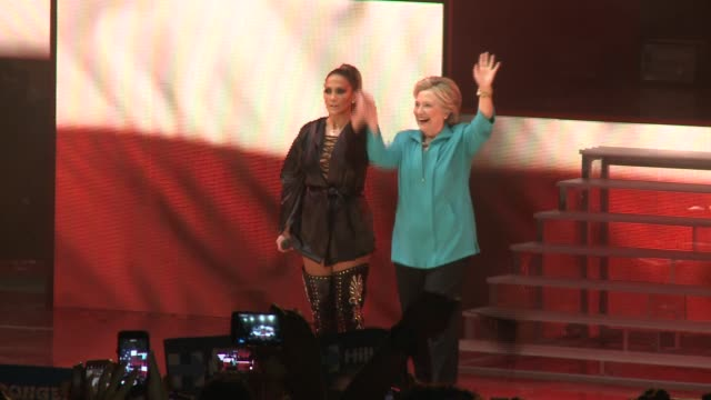 stockvideo's en b-roll-footage met massive campaign rally starring jlo jennifer lopez and mark antony in support of get out the vote efforts for hillary clinton at bayfront park miami - jennifer lopez