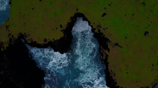 Massive Cliff Drop-Off on Edge of Maui Island Seen from Above