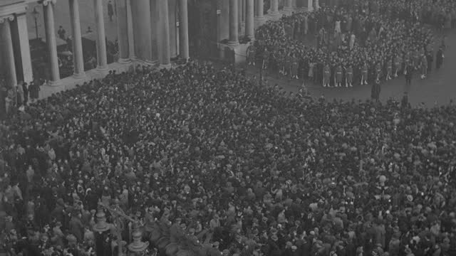 massive crowds gather at hyde park for the funeral procession of king george v. - british royalty stock videos & royalty-free footage