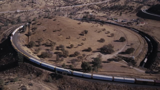 Massive Freight Train Crossing Its Own Tail in Tehachapi Loop