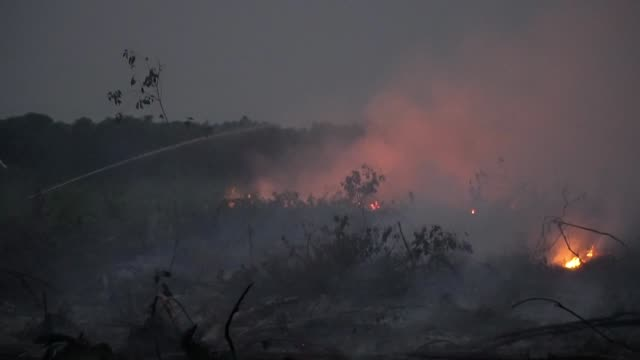 massive jungle areas in sumatra island in indonesia are ablaze as thousands of personnel battle to quell the fires with toxic smog shutting hundreds... - indonesia stock videos & royalty-free footage