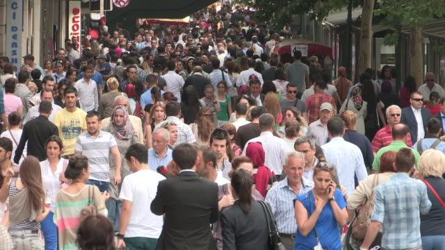 Massive Sidewalk Crowd, Ankara, Turkey