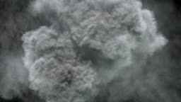 Massive smoke/vapor eruption from top view.