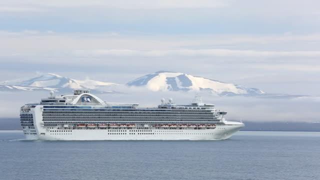 A massive tourist cruise ship in Longyearbyen, Spitsbergen, Svalbard.