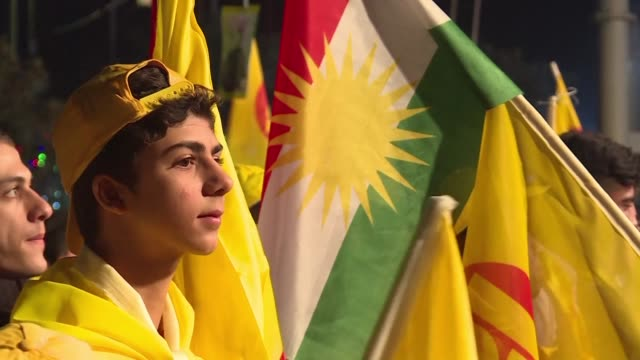 massud barzani's dominant kurdistan democratic party holds a campaign rally in arbil as iraq's autonomous region of kurdistan prepares to vote for a... - kurdischer abstammung stock-videos und b-roll-filmmaterial