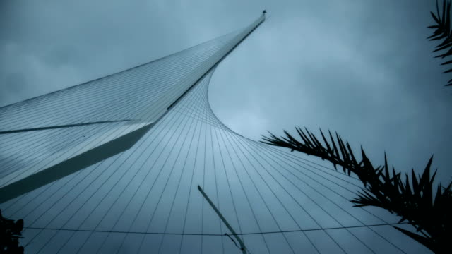 mast of king david's harp in the sky - suspension bridge stock videos & royalty-free footage