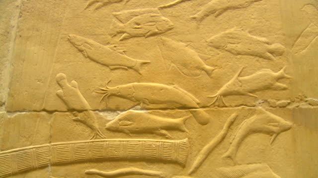 ms td zo mastaba interior ancient wall paintings / saqqara, egypt - saqqara stock videos and b-roll footage