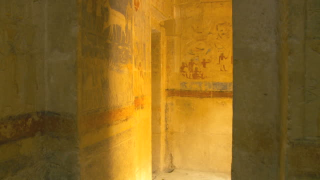 ms pov mastaba interior ancient wall paintings / saqqara, egypt - saqqara stock videos and b-roll footage