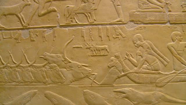 ms pan mastaba interior and ancient reliefs at saqqara archeological site / saqqara, egypt - saqqara stock videos and b-roll footage