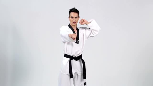 master black belt taekwondo teacher show fighting pose, - taekwondo stock videos & royalty-free footage