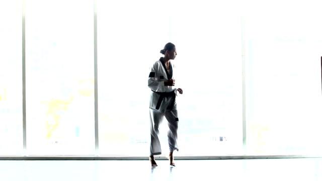 master black belt taekwondo woman teacher warm up in many pose, windows view silhouette figure - taekwondo stock videos & royalty-free footage