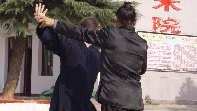 master wu and his western kung fu disciple train in dragongate kung fu in wudang shan. - 使徒点の映像素材/bロール