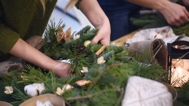 master-class on making christmas wreaths and christmas - advent stock videos & royalty-free footage