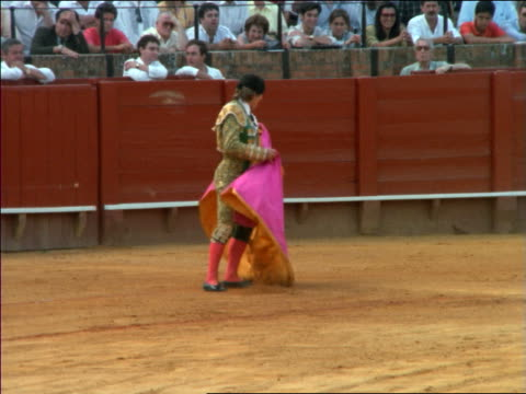 matador with pink cape taunting bull in arena during bullfight / seville, spain - bullfighter stock videos & royalty-free footage