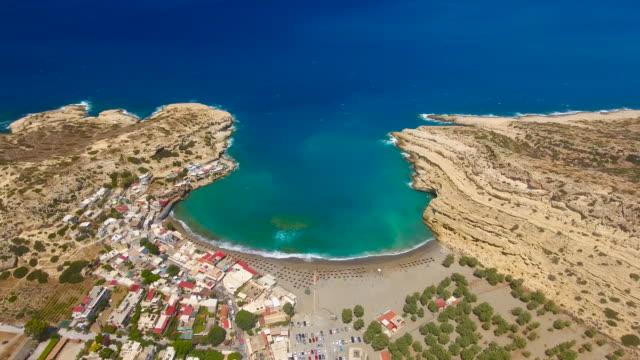 Matala, Crete, Greece. Aerial drone shot.