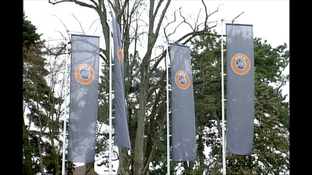 UEFA match fixing allegations SWIZERLAND EXT UEFA flags in ground of UEFA headquarters complex