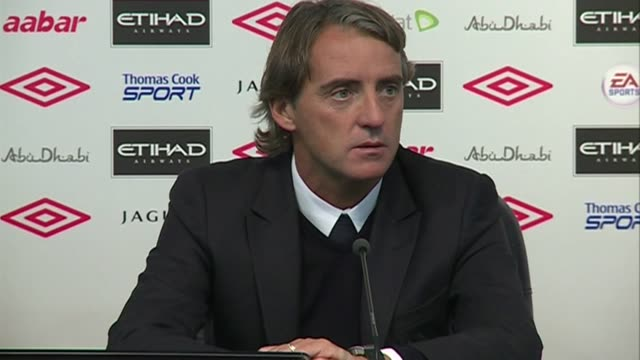 match reaction to manchester city's 2-0 win against birmingham in the carling cup. mancini praises owen hargreaves on his goal scoring debut and... - forbidden stock videos & royalty-free footage