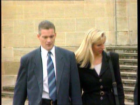 match rigging allegations; england: hants: crown court: lms bruce grobbelaar and man along outside court: cms hans segers and wife along l-r: cms... - rigging stock videos & royalty-free footage