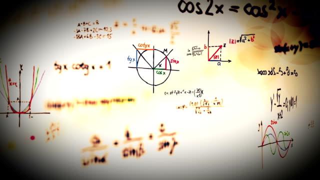 vídeos y material grabado en eventos de stock de bucle símbolos de matemáticas. - fundido en negro