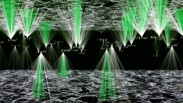 vídeos y material grabado en eventos de stock de matemáticas y fórmulas de física en cima de las montañas futuristas con red - nanotecnología
