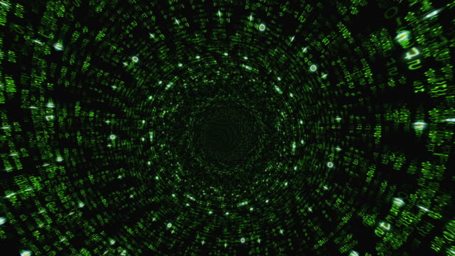 Matrix binary code tunnel with green light.