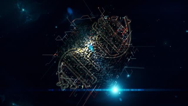 vídeos y material grabado en eventos de stock de cubo de la matriz de adn - estructura molecular