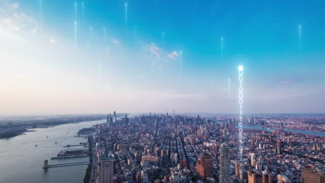 matrix over smart city - smart city stock videos & royalty-free footage