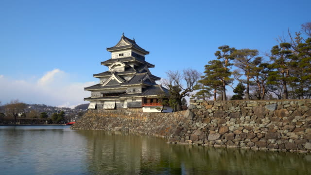 matsumoto castle front view pond with clear blue sky - japanese royalty stock videos and b-roll footage